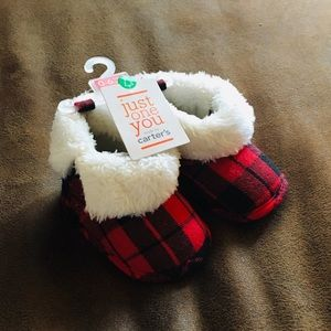 Buffalo plaid infant slippers